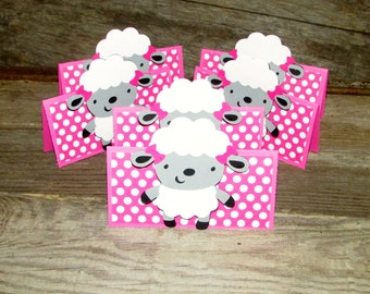 12 Little Lamb treat topper goodie bag toppers pink polka dot includes 4x6 resealable bag