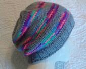Striped knit slouchy beanie hat, unisex hat, mens hat, womens hat, grey striped hat, neon striped hat