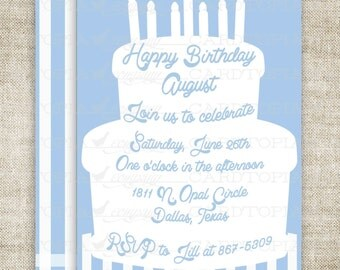 Cake Birthday Party Invitations Boy Printable Invitations Cheap Invitations Blue Candle Stripes Online Party Invitations Hipster - 211634294
