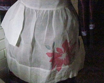 Vintage Christmas sheer starched apron