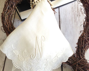 Monogrammed Handkerchief N  Vintage Hankie Embroidered Hankie Letter N, Wedding Hanky, Mother's Day Hanky, Bridesmaid Gift