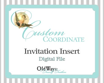 "Coordinating or Matching Custom DIY Printable Invitation Insert - 3.5"" x 5"" or 3.5"" x 2"" Digital PDF File"