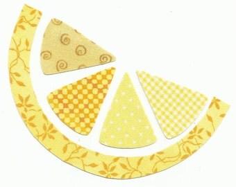 Lemon Slice Citrus Fruit Fabric Iron on Applique - No Sew