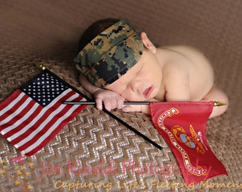 USMC- Woodland Newborn Visor - Photo Prop