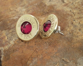 Winchester Colt 45 Earrings - Garnet - Ultra Thin Bullet Earrings