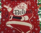 "Ugly Christmas Dog Sweater large breed Red with Santa ""I Believe"""