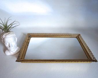 Vintage Vanity Mirror Perfume Tray - Mirrored Dresser Tray Hollywood Regency