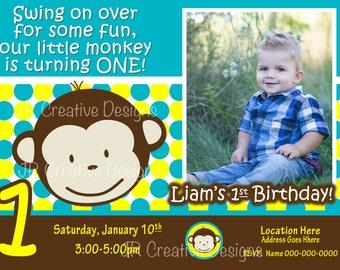 Mod Monkey invite Mod Monkey Invitation Photo - 1st Birthday Party Boy pictures invite 1 year old 1st birthday invitation boy 1 year invite