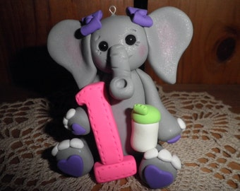 Polymer Clay Elephant - Personalized Girl's First Elephant With Sippy Cup Christmas Ornament/Cake Topper/Keepsake/Gift