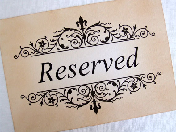 Wedding Reserved Seating Sign Reserved Sign Vintage Style