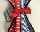 Red Stripe and Blue Seersucker Handmade Burp Cloth Set