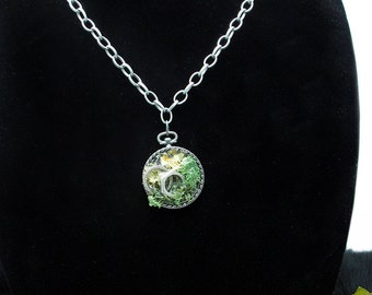 ON SALE!! 60% OFF!! Handmade Rustic Moss Pendent and Necklace