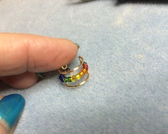 Ear Cuff Rainbow beaded Non Pierced
