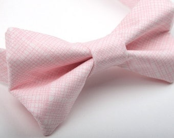 Pink crosshatch bow tie, pink bow tie, rose quartz bow tie, boys bow tie, mens bow tie, adult bow tie, pre-tied bow tie, ring bearer bow tie