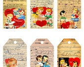 INSTANT DOWNLOAD,  Valentine Library Tags, Kids Valentine Cards, Valentine Cards, Printable, Vintage Valentine Labels, Printable
