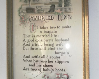 "Vintage MOTTO - ""MARRIED LIFE"" - Circa 1915 - The House of Art, N.Y."