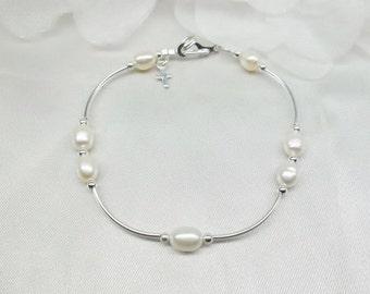 White Pearl Bracelet Cross Bracelet Easter Bracelet Christian Jewelry 925 Sterling Silver Bracelet Adjustable Bracelet BuyAny3+Get1 Free