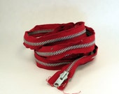 Long Metal Zipper Red 90 Inches