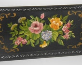 Metal Serving Tray Mid Century Hand Painted Tray Black Metal Tray