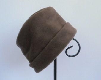 Cocoa Brown Fleece Hat, Roll Brim Hat, Brown Hat, Soft and Warm Hat, Fleece Hat