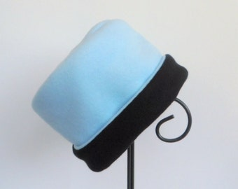 Blue Fleece Hat, Roll Brim Hat, Soft and Warm Hat, Black and Blue Hat, Fleece Hat