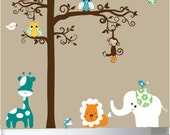 Vinyl wall decal tree with jungle animals owls birds