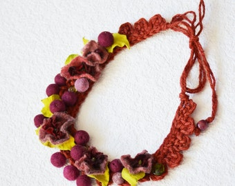 Felt Necklace , burgundy, Felted Necklace ,Long Necklace of felt flowers, Ready to Ship
