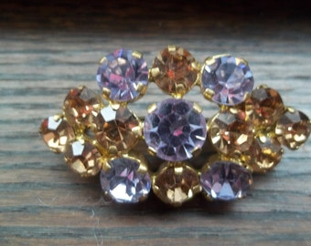 Sparkling goldish and grayishRhinstone vintage brooch