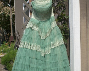 Vintage Prom Gown Green