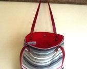 Striped Tote Bag  Bottom  Army Green Waxed Canvad canvas -  Shoulder bag / Tote Bag / Diaper Bag /School bag