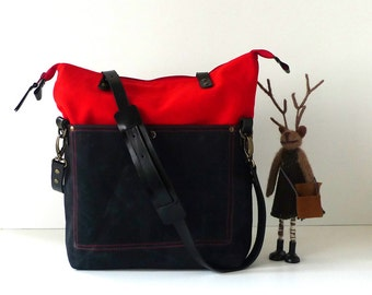 Red Canvas and Black Waxed Canvas Foldover Tote Bag  -  Shoulder bag / Tote Bag / Diaper Bag /School bag