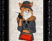 Smoking Fancy Foxy Lady FOX, DICTIONARY Print, Animal Fox Funny poster, Book page, Upcycled Book Page, Gift, Dorm home wall decor
