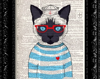Sailor Sea Cat , DICTIONARY Print, Geeky Sailor Cat Hat Sweater glasses, Print, Book page, Upcycled Book Page, Gift, Dorm home wall decor