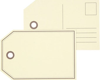 Large Gift Tags - Postcard Style Tag - Plain Craft Decorate - Pack of 10 Post Cards - Cream