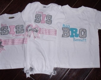 Set of 3 Gray Gray Morracan and Chevron Lil SiS or Bro Gown Big-Bigger sis or Bro Shirt and bigger sis-bro Shirt