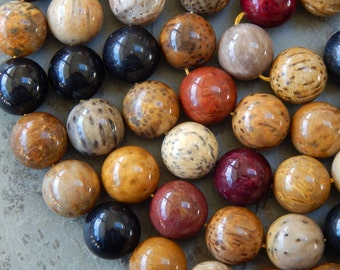 16mm Natural Petrified Wood Round Polished Semi-Precious Beads, 10 PC (IND8C75)