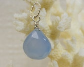 Add On Charm Blue Chalcedony  Wire  Wrapped  Briolette Pendant  Add Dangle Birthstone jewelry