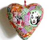 Marilyn Monroe art, heart art, hanging heart, Valentine heart, decoupaged heart, pastel green and pink.