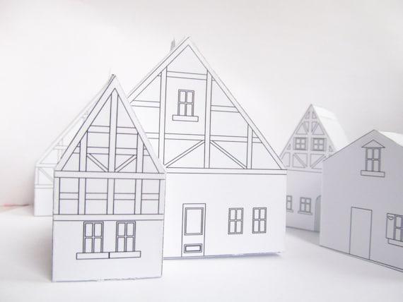 Maison de papier de bricolage mod le pr t imprimer joli - Patron de maison en papier a imprimer ...