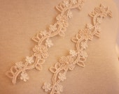 Champagne Beaded Lace Applique for Bridal Veil, Wedding Gown, Bodice, Bridal Shrug