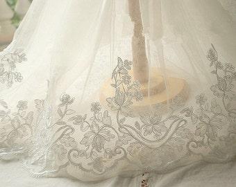 2 Yards  Alencon Lace Trim in Ivory for DIY Wedding Bridal Veil Wedding Gown