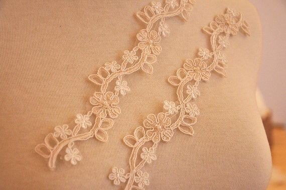 chagne beaded lace applique for bridal veil wedding gown