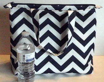 Mega Large Lunch Bag, Insulated, Womens Lunch Bag, Made to Order, Zip Closure, Choose Your Colors, Small Diaper Bag