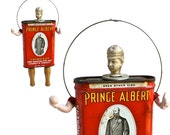 prince albert, mixed media assemblage, art doll ornament, bocce and beer, by Elizabeth Rosen