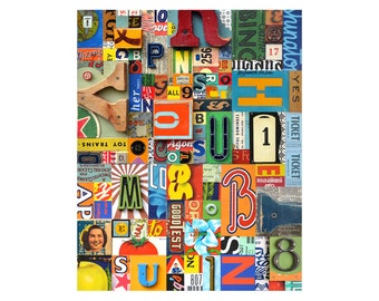 Huge PRINT 16x20   Vintage Sign Letters typography collage assemblage    by Elizabeth Rosen
