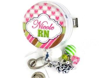 Nurse Badge Holder, RN Badge Reel Personalized Custom ID Badge Reel Lanyard Glass Tile,  Medical Pink Green, Nurse Graduation, Daughter Gift