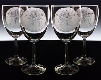 Wine Glass set of 4 , hand engraved custom glassware Wine glasses