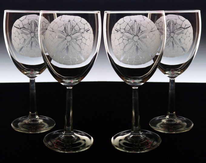Wine Glass set of 4 , hand engraved custom glassware Wine glasses