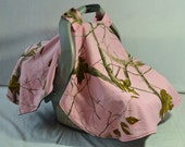 Contoured  Pink Real Tree Car Seat Canopy (Made to Order)