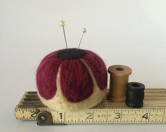 Mini Pin Cushion, needle felted wool travel pincushion for sewers and quilters